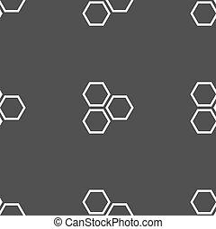 ハチの巣, アイコン, 印。, seamless, パターン, 上に, a, 灰色, バックグラウンド。, ベクトル