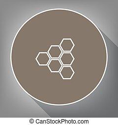 ハチの巣, 印。, vector., 白, アイコン, 上に, ブラウン, 円, ∥で∥, 白, 輪郭, そして, 長い間, 影, ∥において∥, 灰色, バックグラウンド。, のように, 平面図, 上に, postament.