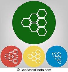 ハチの巣, 印。, vector., 4, 白, スタイル, の, アイコン, ∥において∥, 4, 有色人種, 円, 上に, 明るいグレー, バックグラウンド。
