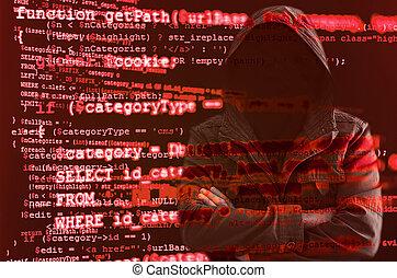 ハッカー, なしで, 顔, 囲まれた, によって, 源, コード