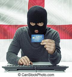 ハッカー, イギリス\, 背景, 肌が黒, -, クレジット, 旗, 保有物, カード