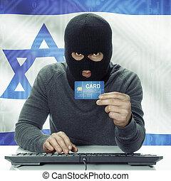 ハッカー, イスラエル, 背景, 肌が黒, -, クレジット, 旗, 保有物, カード