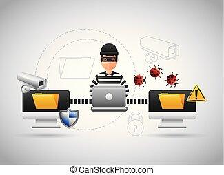 ハッカー, インフォメーション盗み, ラップトップ, ウイルス, ファイル, 問題