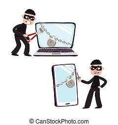 ハッカー, ナンキン錠, 巨人, ラップトップ, 電話