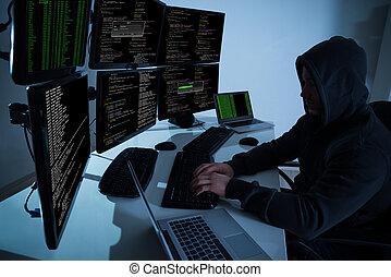 ハッカー, 使うこと, コンピュータ, データ, 盗みをはたらきなさい