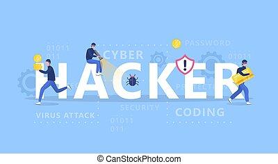 ハッカー, 個人的, 盗みをはたらきなさい, concept., thiefs, 攻撃, コンピュータ, データ