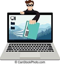ハッカー, 壊れる, コンピュータデータ, 盗み