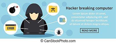 ハッカー, 壊れる, コンピュータ, 旗, 横, 概念