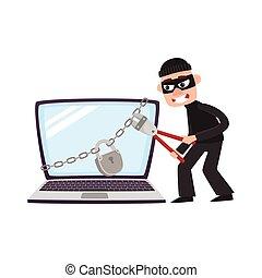 ハッカー, 巨人, protecton, 錠, ラップトップ, 壊れる