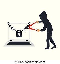 ハッカー, 情報, 盗みをはたらきなさい, ラップトップ, 隔離された, hacks, バックグラウンド。, 黒, セキュリティー, マレ, データ, 白, 衣服