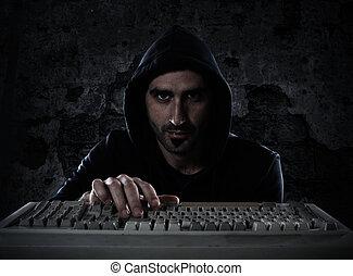 ハッカー, 概念, プライバシー, 個人的, セキュリティー, 読書, information.