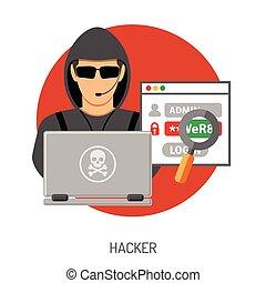 ハッカー, 概念, cyber, 犯罪