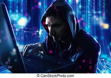 ハッカー, 読書, 個人的, information., 概念, の, プライバシー, そして, セキュリティー
