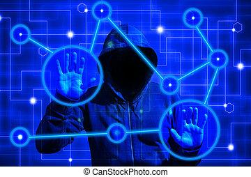 ハッカー, touchscreen, ネットワーク, 攻撃, コンピュータ, ノード