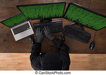 ハッキング, コンピュータ, ラップトップ, 強盗