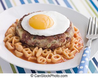 ハッシュ料理, 牛肉, アルファベット, corned, ケーキ, パスタ, 油で炒めた卵