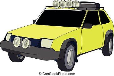 ハッチバック, 黄色, オフロードで, ベクトル