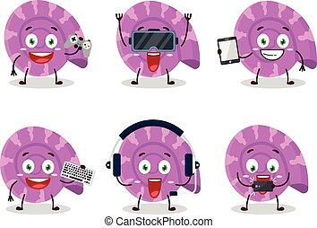 ハマグリ, かわいい, 紫色, 漫画, emoticons, ゲームを すること, 特徴, 様々