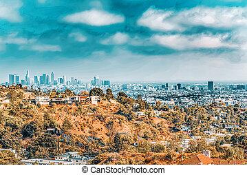 ハリウッド, 住宅の, 丘, 区域, hills., beverly, 光景, 都市, 建物