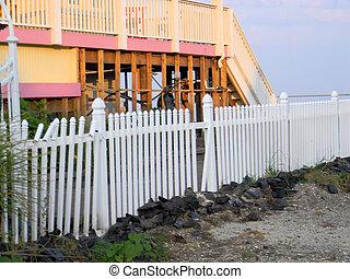 ハリケーン, 家, フェンス, 損害