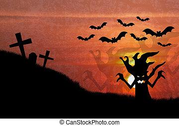 ハロウィーンの夜, 日没