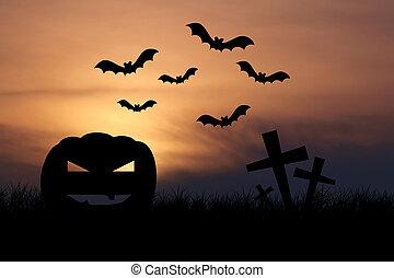 ハロウィーンの夜, 背景, 日没