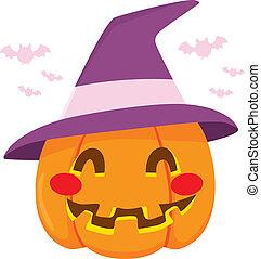 ハロウィーン魔女, 帽子, カボチャ