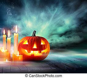ハロウィーン, -, カボチャ, ∥で∥, 蝋燭