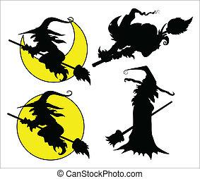 ハロウィーン, シルエット, ベクトル, 魔女