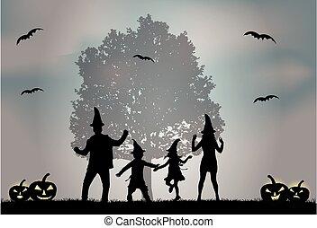 ハロウィーン, -, シルエット, family.