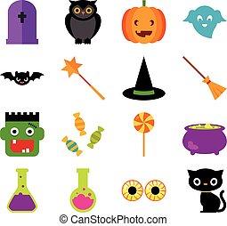ハロウィーン, セット, symbols.eps, celebratory, アイコン