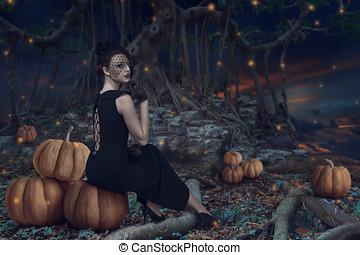 ハロウィーン, 女の子, 中に, 暗い, 森林