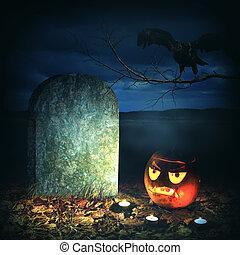 ハロウィーン, 恐怖, concept., 恐い, カボチャ, 中に, 墓地