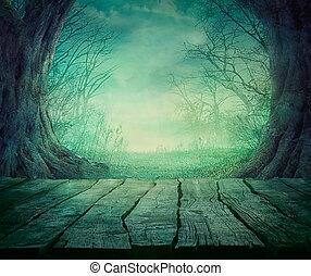 ハロウィーン, 気味悪い, 森林