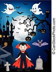 ハロウィーン, 漫画, 背景, 吸血鬼