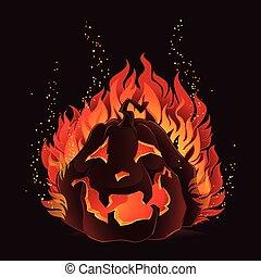 ハロウィーン, 炎, カボチャ