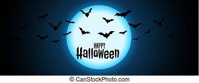 ハロウィーン, 飛んでいるバット, 背景, 夜, 満月