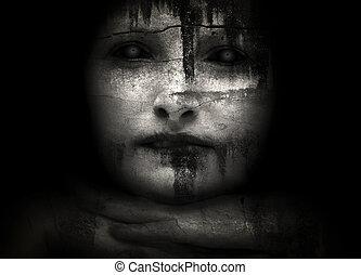 ハロウィーン, creepy, 女性
