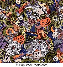 ハロウィーン, hand-drawn, ベクトル, doodles, 漫画, 主題
