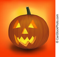 ハロウィーン, pumpkin., vector.
