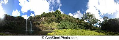 ハワイ, 滝, 落ちる, パノラマである, wailua, 光景