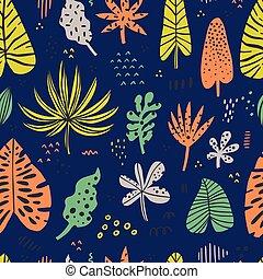 ハワイ, 色, 手, 引かれる, seamless, パターン