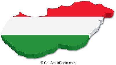 ハンガリーの旗, 3d, 地図