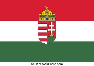 ハンガリー人, コート, 国民, 腕, イラスト, 旗, 3d