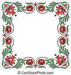 ハンガリー人, フレーム, 伝統的である, motives, 花, 空