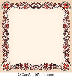 ハンガリー人, 型, フレーム, 伝統的である, motives, 花