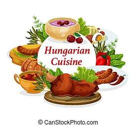 ハンガリー, ベクトル, 料理, 皿, フレーム, ラウンド, ポスター