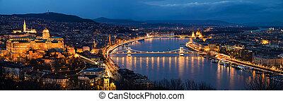 ハンガリー, 光景, ブダペスト, 航空写真, 夜