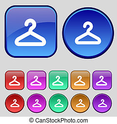 ハンガー, ボタン, あなたの, セット, アイコン, 12, 印。, 型, design.