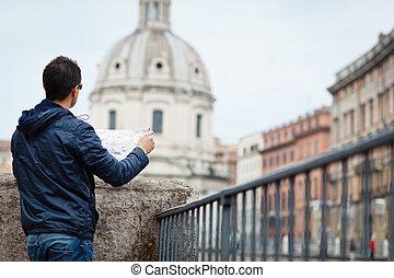 ハンサム, イタリア, 観光客, ローマ, 若い, 肖像画, マレ